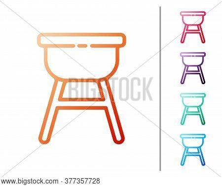 Red Line Barbecue Grill Icon Isolated On White Background. Bbq Grill Party. Set Color Icons. Vector