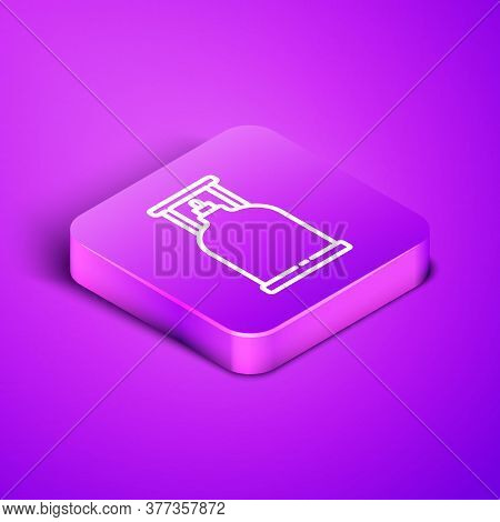 Isometric Line Camping Gas Stove Icon Isolated On Purple Background. Portable Gas Burner. Hiking, Ca