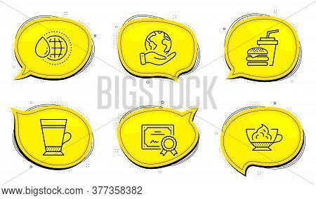 Espresso Cream Sign. Diploma Certificate, Save Planet Chat Bubbles. Latte, Hamburger And World Water