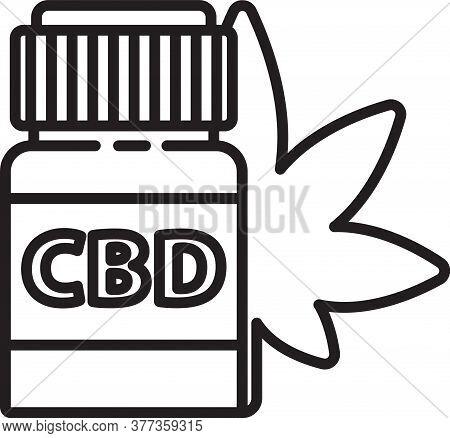 Black Line Medical Bottle With Marijuana Or Cannabis Leaf Icon Isolated On White Background. Mock Up