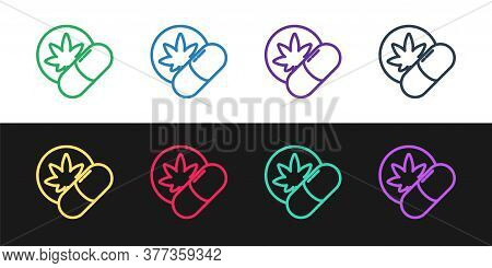 Set Line Herbal Ecstasy Tablets Icon Isolated On Black And White Background. Vector Illustration