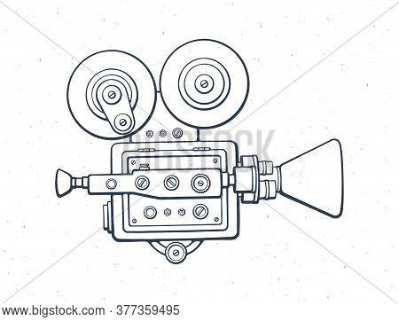 Outline Retro Cinema Camera. Vintage Film Projector. Old Fashioned Movie Camera. Symbol Of The Film