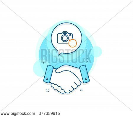 Backup Data Sign. Handshake Deal Complex Icon. Recovery Photo Camera Line Icon. Restore Information