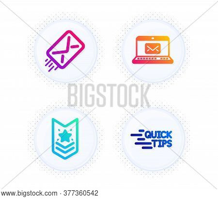 Shoulder Strap, E-mail And E-mail Icons Simple Set. Button With Halftone Dots. Education Sign. Star