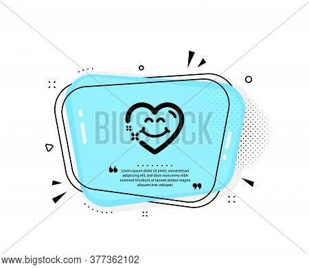 Smile Face Icon. Quote Speech Bubble. Happy Emoticon Chat Sign. Heart Face Symbol. Quotation Marks.