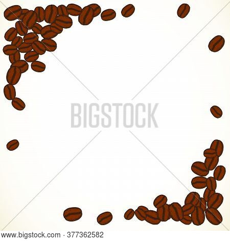 Scattered Brown Roasted Coffee Beans Blank White Frame. Graphic Cafe Menu Template Vector Illustrati