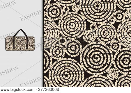 Bag. Fabric Design With Abstract Circles. Seamless Pattern. Use For Textiles, Fabrics, Paper, Wallpa