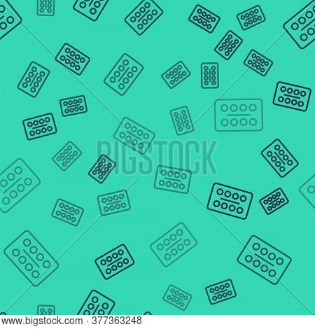 Black Line Pills In Blister Pack Icon Isolated Seamless Pattern On Green Background. Medical Drug Pa