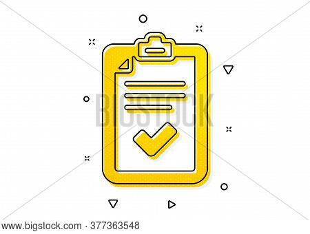 Survey Report Sign. Checklist Icon. Business Review Symbol. Yellow Circles Pattern. Classic Checklis