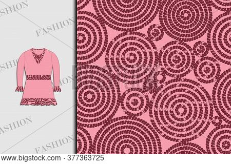 Blouse. Fabric Design With Abstract Circles. Seamless Pattern. Use For Textiles, Fabrics, Paper, Wal