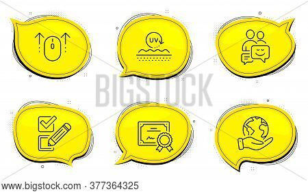 Communication Sign. Diploma Certificate, Save Planet Chat Bubbles. Swipe Up, Uv Protection And Check