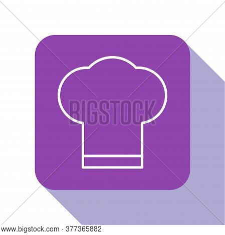 White Line Chef Hat Icon Isolated On White Background. Cooking Symbol. Cooks Hat. Purple Square Butt