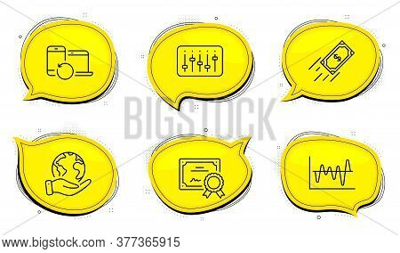 Recovery Devices Sign. Diploma Certificate, Save Planet Chat Bubbles. Fast Payment, Dj Controller An