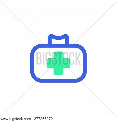 First Aid Kit Icon Vector, Filled Flat Sign, Medical Bag Bicolor Pictogram, Green And Blue Colors. S