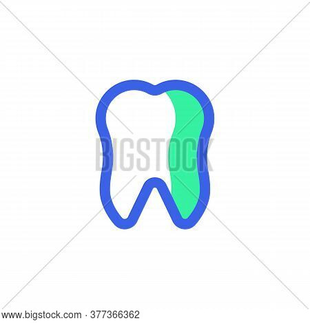 Dental, Tooth Icon Vector, Filled Flat Sign, Bicolor Pictogram, Human Tooth Green And Blue Colors. S
