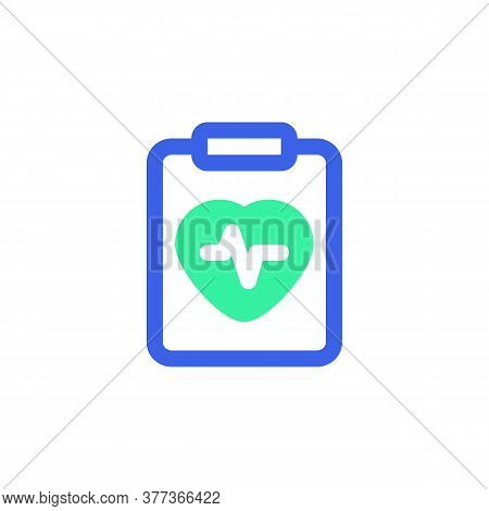 Heart Cardiogram Icon Vector, Heartbeat Diagnosis Filled Flat Sign, Bicolor Pictogram, Green And Blu
