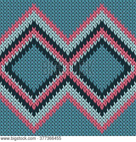 Cotton Rhombus Argyle Knit Texture Geometric Vector Seamless. Rug Knitwear Fabric Print. Winter Seam