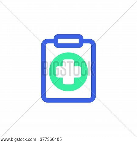Clipboard With Medical Cross Icon Vector, Filled Flat Sign, Medical Report Bicolor Pictogram, Green