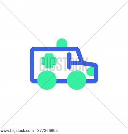 Medical Van Icon Vector, Filled Flat Sign, Bicolor Pictogram, Ambulance Truck Green And Blue Colors.