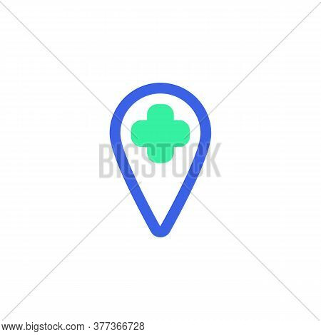 Hospital Location Icon Vector, Filled Flat Sign, Map Marker With Medical Cross Bicolor Pictogram, Gr
