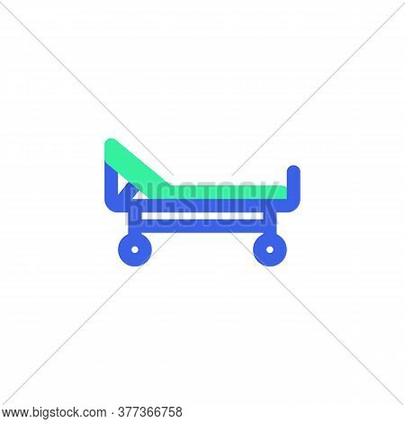 Stretcher Icon Vector, Filled Flat Sign, Hospital Bed Bicolor Pictogram, Green And Blue Colors. Symb