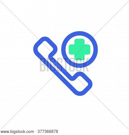 Emergency Call Icon Vector, Filled Flat Sign, Bicolor Pictogram, Green And Blue Colors. Symbol, Logo