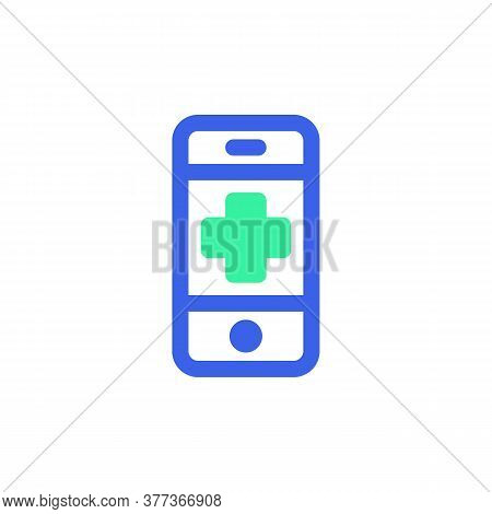 Mobile Phone Emergency Call Icon Vector, Filled Flat Sign, Bicolor Pictogram, Green And Blue Colors.