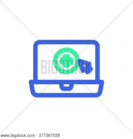 Online Tele Medicine Icon Vector, Filled Flat Sign, Bicolor Pictogram, Laptop With Medical Cross Gre
