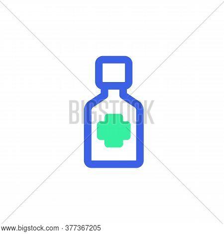 Medical Bottle Icon Vector, Filled Flat Sign, Bicolor Pictogram, Medicine Green And Blue Colors. Sym
