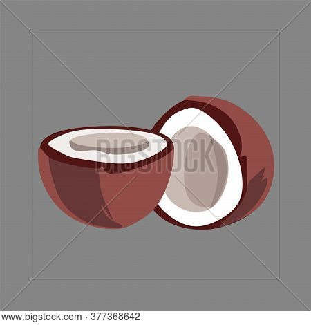 Pieces Of Coconut, A Set Of Cut Halves Of White Coconut .vector Illustration Of A Fruit Coconut On A