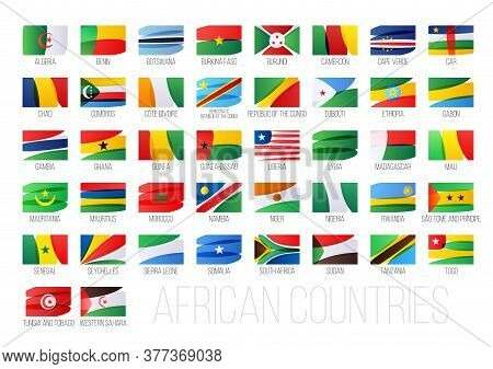 African Countries Flags Set. National Symbols Illustration.
