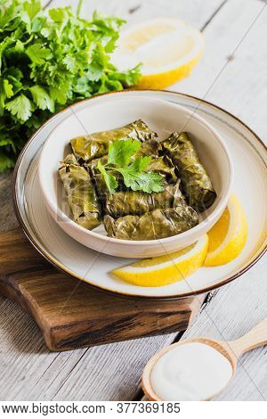 Dolma - Stuffed Greek Wine Leaves (dolmades) On A Grey Wooden Background