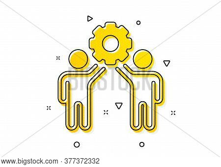 Collaboration Sign. Employees Teamwork Icon. Development Partners Symbol. Yellow Circles Pattern. Cl