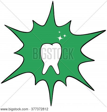 Snow-white Tooth. Vector Icon. Isolated White Background. Radiates Whiteness. Green Background In Th