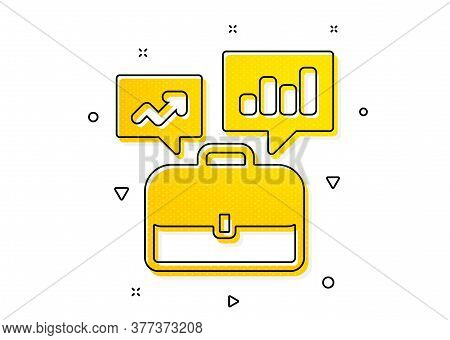 Job Interview Sign. Business Portfolio With Growth Charts Icon. Yellow Circles Pattern. Classic Busi