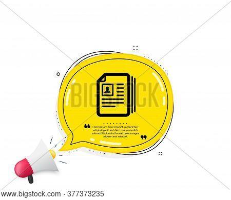 Business Recruitment Icon. Quote Speech Bubble. Cv Documents Or Portfolio Sign. Quotation Marks. Cla