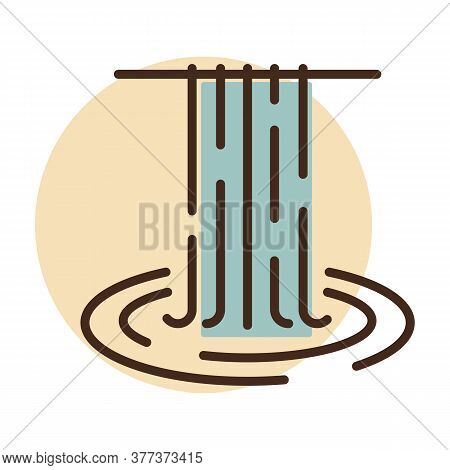 Waterfall Of Natural Vacation Vector Icon. Nature Sign. Graph Symbol For Travel And Tourism Web Site