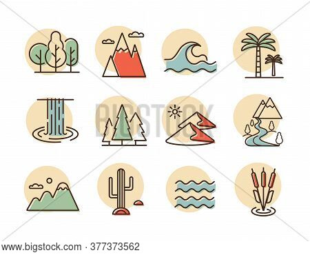 Vector Nature Icons Set. Desert, Mountains, Forest, River, Sea, Lake. Graph Symbol For Travel And To