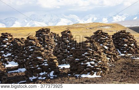 Dung Mountains On The Background Of A Mountain Landscape Bricks From The Dried Remains Of Cow Dung U