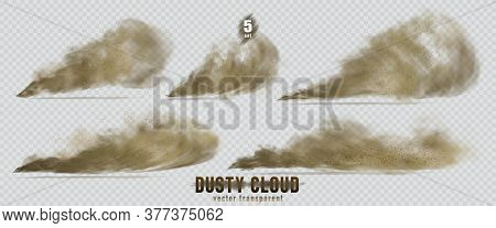Dusty Cloud Or Broun Dry Sand Flying With A Gust Of Wind, Sandstorm, Explosion Realistic Texture Wit