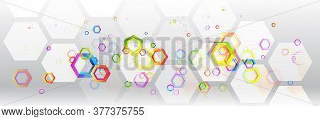 Abstract Wide Technology Background With Colorful Hexagons. Futuristic Digital Innovation Background