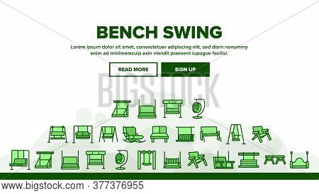 Bench Swing Furniture Landing Web Page Header Banner Template Vector. Bench Swing In Different Style
