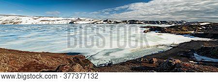 Kleifarvatn Lake In Winter In A Sunny Day Near Krysuvik Sulphuric Area In Reykjanes Peninsula, Icela