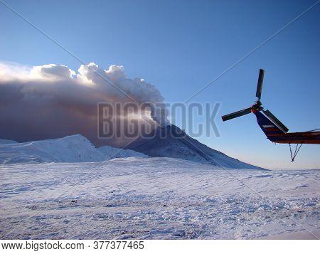 Active Volcano Erupting Lava And Clouds Of Volcanic Ash. Kizimen, Kamchatka Peninsula