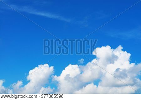 Beautiful Heap Pure Blue Sky White Cloud In The Autumn And Sunlight