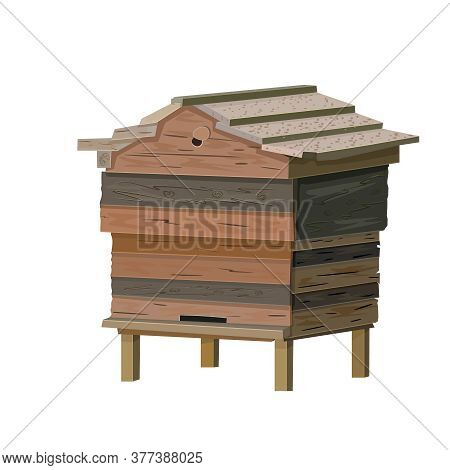 Beehive Isolated On White Background. Old Wooden Bee Hive. Cartoon Illustration Of A Hive For Beekee