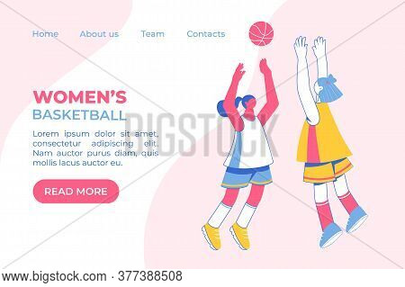 Teenage Girls Playing Basketball Concept. Young Women Training Dribble.
