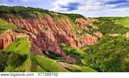 Red Ravine, Badland Natural Reservation In Transylvania, Romania