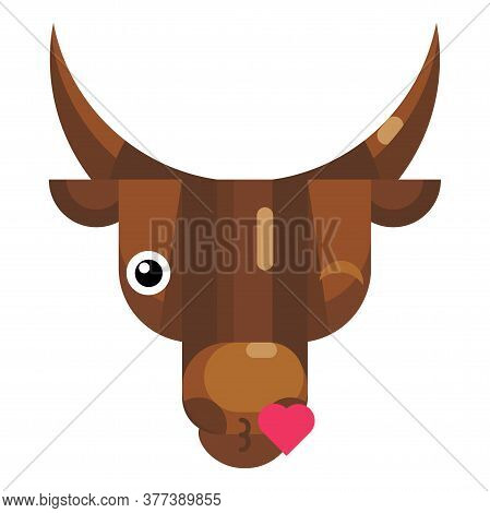 Kissing Bull Face Emoji, Happy Cow Blowing Kiss Icon Isolated Emotion