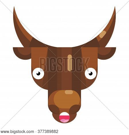 Bad Surprise Bull Face Emoji, Wow Looking Cow Icon Isolated Emotion